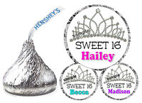 108 SWEET 16 SIXTEEN BIRTHDAY PARTY FAVORS HERSHEY KISS KISSES LABELS CROWN