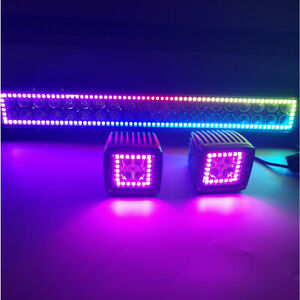 """22"""" Off road LED Light Bar + 2x 3"""" Fog with RGB Halo Multi Color Change Chasing"""