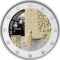 5x 2 Euro Gedenkmünze BRD 2020 ADFGJ Kniefall coloriert / Farbe / Farbmünze