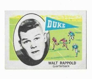 Walt Rappold Blue Devils NCAA QB 1961 Nu-Cards Football Card 108 Single Original