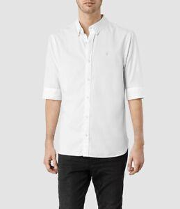 ALLSAINTS Size S White Halve-Sleeve Cotton Men's Shirt