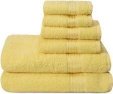 Cotton Towel Set Bath Bathroom Soft Hand Wash Cloths Orange Yellow White Set 6