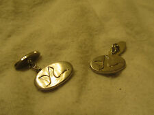 Silver Tone Small Oval Dovebet Swan Cufflinks - 2cm across