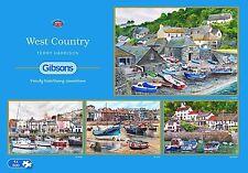 Gibsons West Country bateaux + ports 4 x 500 Piece Jigsaw Puzzle Set-Nouveau Cadeau