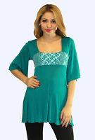 Green Aqua Maternity Top Blouse Batwing Tunic 3/4 Long Sleeve Casual S M L XL