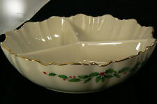 Lenox Holiday Porcelain Divided Christmas Red Holly Berries Serving Dish Bowl