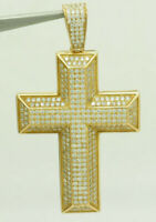 Sterling Silver 925 Gold Plated 1.00ctw Round Cut Cubic Zirconia Cross Pendant