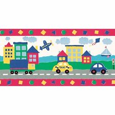 Taxi Cars Airplanes Trucks Sailboat Kites Border Wallpaper Red Yellow Kids Town