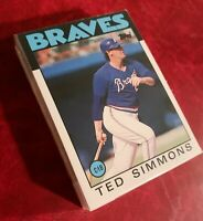 50) TED SIMMONS Atlanta Braves 1986 Topps Traded Baseball Card #102T LOT