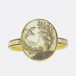 Gold Georgian Ring- Georgian 1770s Enamel and Hair Miniature Mourning Ring 18ct