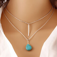 Women's Bohemia Turquoise Double Chain Heart Pendant Necklace Jewellery YJ