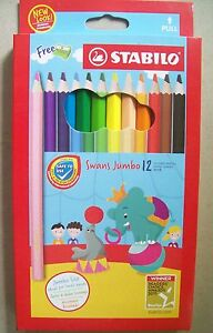 12 Stabilo Jumbo Colored Pencils Swans Free Sharpener