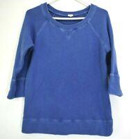 J.Crew Women's Small 3/4 Sleeve Sweatshirt Top Spring Casual Comfortable Blue