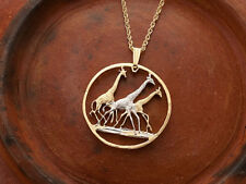 "Giraffe Pendant and Necklace, Tanzania Coin Hand Cut,1 1/4"" in Dia., ( # 380 )"