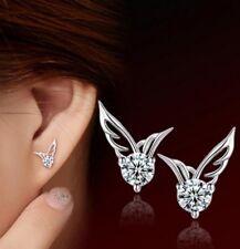 Beautiful Silver Plated Angel Wings Diamante Earrings Stud Pierced Ears Plate E6