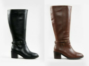 EX EVANS EXTRA WIDE FIT (EEE) BLACK FAUX LEATHER HIGH LEG KNEE BOOTS RRP £65