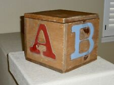 Vintage Wooden ABC Hobby Horse Rustic Carved Toy Box Hand Painted Hand Carved