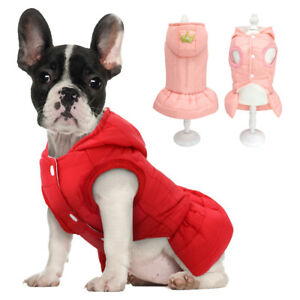 Warm Hoodie Clothes Winter Jacket Cute Princess Dress for Girls XS Dog Coat Pink
