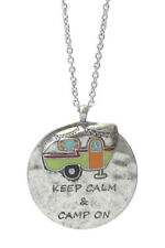 Keep Calm & Camp On Happy Camper Necklace Round Circle Silver Color Necklace