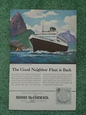 1948 Moore-McCormack Lines - Good Neighbor Fleet, Cruise lines/ Wwii Troop Ships