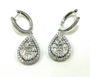 Natural Pear Shape Diamond Cluster Drop Snap Earrings 14K White Gold 4.53Ct