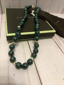 Ross Simmons 14k Malachite 10.5mm Bead Necklace 20in