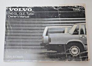 1986 VOLVO 740 GL GLE TURBO OWNERS MANUAL