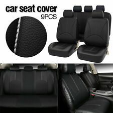 9Pcs PU Leather Car Auto Seat Cover Full Seat Protector Set Front & Rear Black