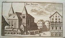 Zürich  Fraumünster  Schweiz Bluntschli  echter alter Kupferstich 1742 n2
