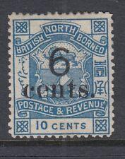 North Borneo 1891 6c on 10c Blue SG57 Fine & Fresh Mounted mint