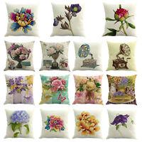 45X45cm Cotton Linen Floral Pillow Case Sofa Waist Car Cushion Cover Home Decor