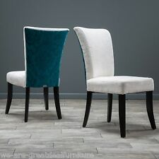 Set of 2 Dining Furniture Ivory and Teal Fabric Dining Chairs