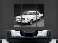FORD MUSTANG 1964 WHITE CLASSIC CAR POSTER  WALL ART PRINT LARGE GIANT
