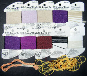 12x Needlepoint/Embroidery THREAD RG 18ct Silk Lame&Bkgrnds + PEARSALL silk-ZZ97