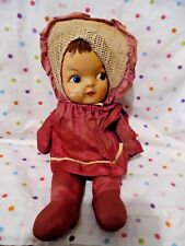 "Vintage Cloth Doll, Painted Face, 14"" Tall, Burgundy Outfit & Hat, Old"