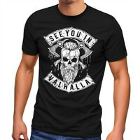 Herren T-Shirt See You in Valhalla Wikinger Totenkopf Skull Fashion Streetstyle