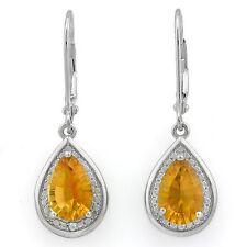 Boucles d'oreilles/Ohrhaken Natalia, 925er argent, 2,28 KT. vrai Mandarin citrin/diamant