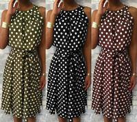 Women Polka Dot Print Sleeveless Dresses Off Shoulder Loose Knee-Length Dress