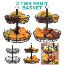 2 Tier Fruit Basket Holder Rack Vegetable Bowl Storage Stand Dining Table Hanger