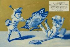 1880's J. H Hidley's Piano Organ & Music Store Children Giant Butterfly P68