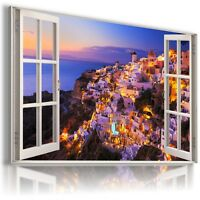 W429 GREECE SANTORINI 3D Window View Canvas Wall Art Picture Large SIZE 30X20""