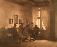 Peter Ilsted, A rainy day. Interior with the artist's family. 1931, Mezzotint