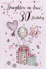 30th DAUGHTER IN LAW BIRTHDAY CARD ~ AGE 30 QUALITY CARD PRESENTS DESIGN BY IC&G