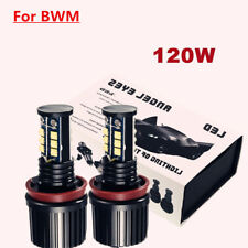 Pair 240W White H8 CREE LED Angel Eyes Ring Marker Bulbs For BWM 1 3 5 X Series