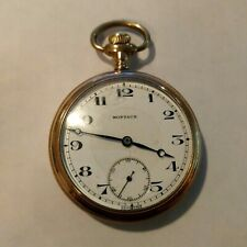 Pocket Watch Montauk Open Face Double Sunk Dial 15 Jewels 3 Adjustments Rare Wks