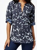Maison Jules, Women's NWT Printed Roll Tab Blue Hearts 💕 Sleeve Blouse - Size M