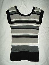 Charlotte Russe Black/ Gray/White Striped V-Neck n Back Top Sweater Women Small