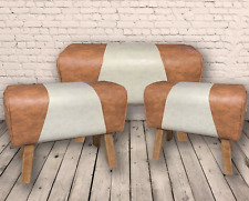 3 Faux Leather Tan Canvas Pommel Horse Stool Seat Chair Bench Home Footstool New