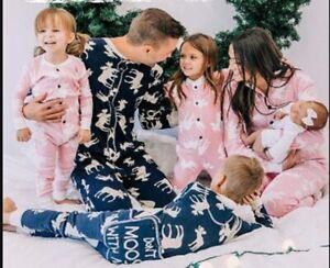 Family mens ladies kids baby all in one pyjama loungewear navy pink moose RRP£40