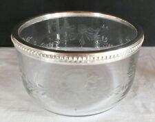 coupe verre gravé cerclée métal argenté 19ème